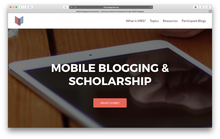 Mobile Blogging & Scholarship workshop series website front page.