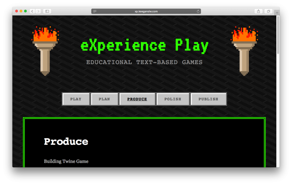 Screenshot of the eXperience Play website.