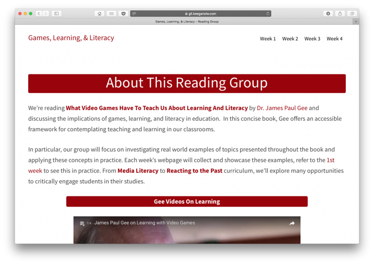 Screenshot of games, learning, & literacy reading group website.
