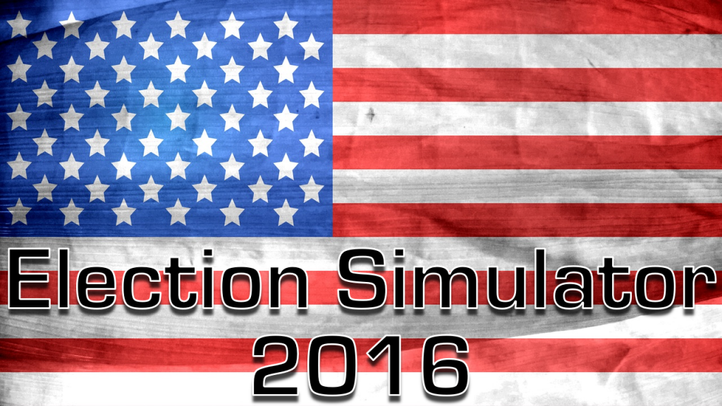 "american flag with ""election simulator 2016"" text overlaid across the bottom"