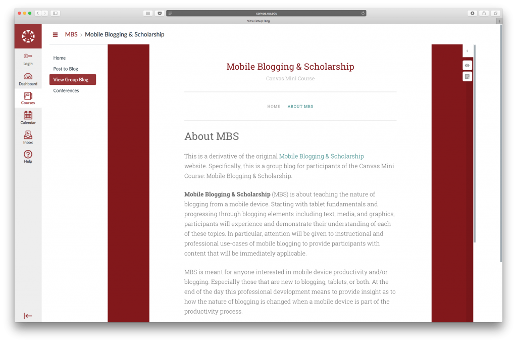 Mobile Blogging & Scholarship Canvas course shown with a Domain of One's Own website integrated inside the Canvas Course.