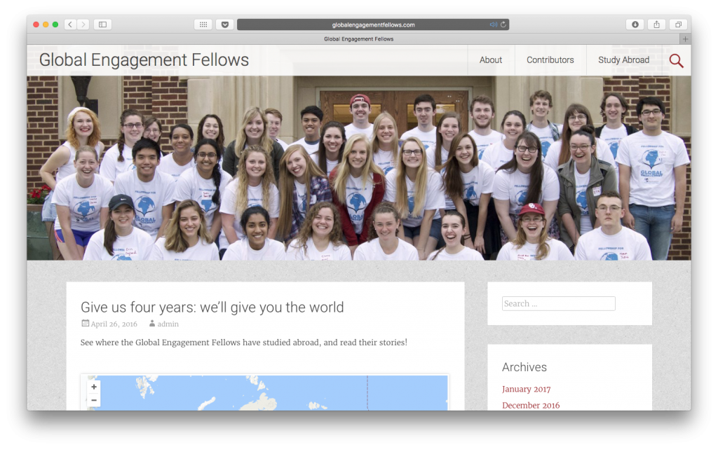 Global Engagement Fellows website showing students blog posts from their study abroad experiences.