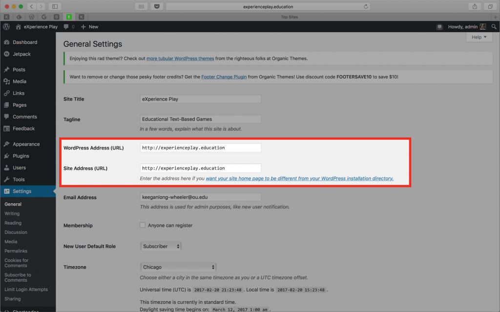 Screenshot of General Settings highlighting WordPress Address and Site Address fields
