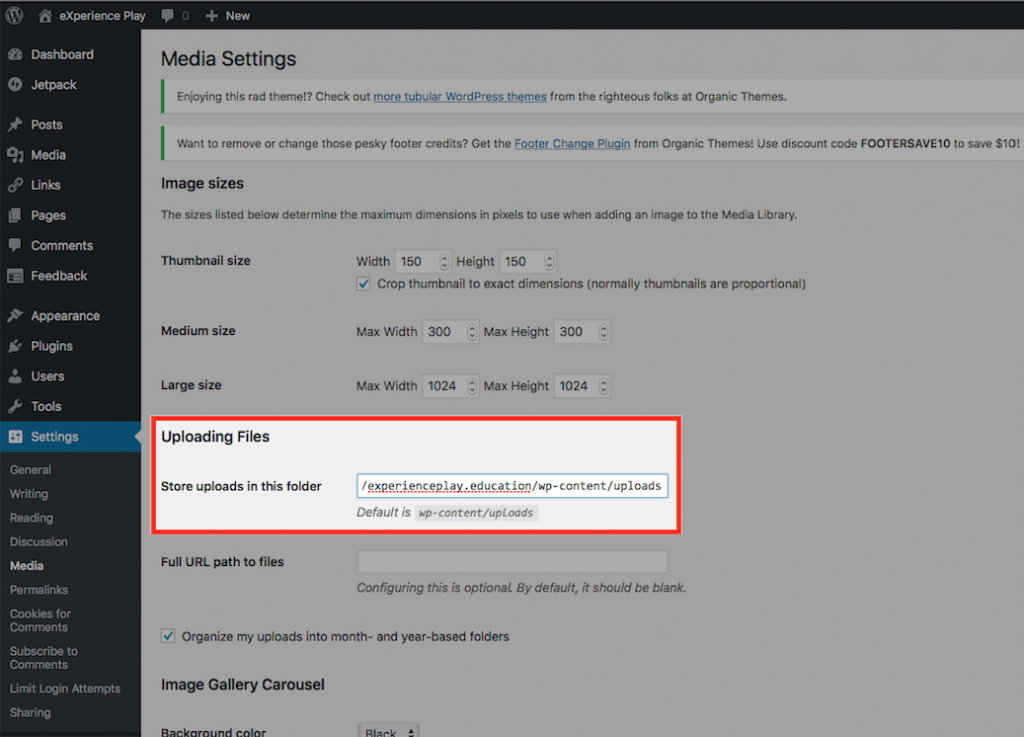Screenshot of Media Settings highlighting the directory where uploaded files go on a WordPress website.
