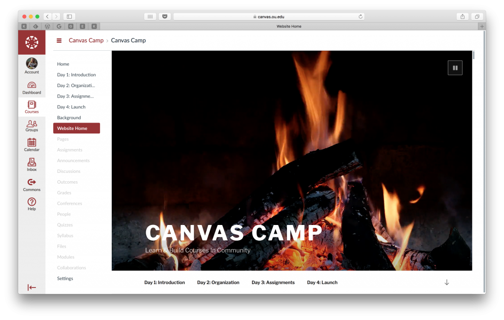 Canvas Camp website displaying a lit campfire inside of a Canvas Course