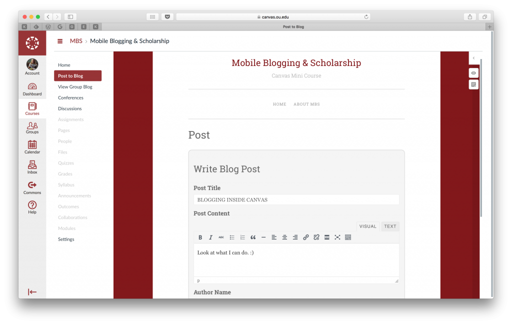 Canvas course with AccessPress Plugin configured to let students blog directly within Canvas.