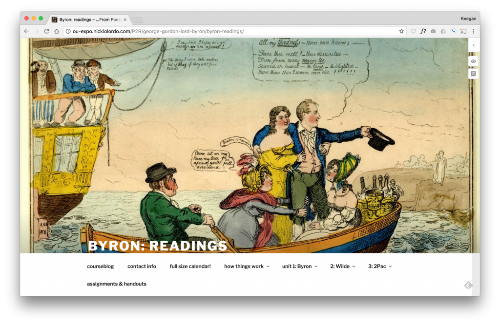 Website using hypothes.is to annotate Byron Readings