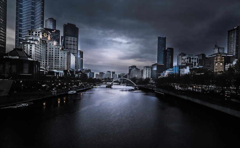 Picture of the Yarra river at night in Melbourne, Australia.