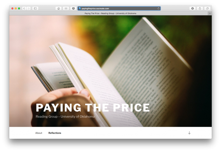 Paying the Price reading group website front page.
