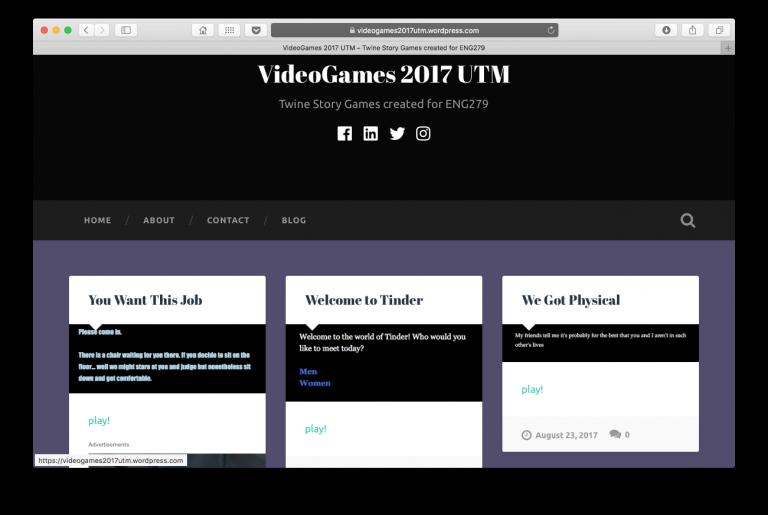 VideoGames 2017 UTM Class Screenshot