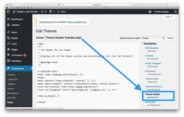 Screenshot of WordPress Theme Editor showing the header.php file